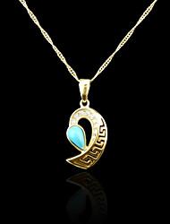 18k verdadeiro banhado a ouro azul pingente de 3,5 * 1,55 centímetros