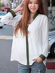 De las mujeres Camisa Escote Chino - Raso - Manga Larga