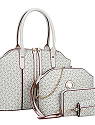 Women PU Shell Shoulder Bag / Tote / Satchel / Wallet / Card & ID Holder - White / Pink / Blue