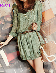 Women's Vintage/Beach/Casual/Lace/Cute Micro-elastic Long Sleeve Above Knee Dress (Chiffon/Lace/Polyester)
