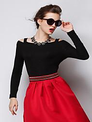 encajes de empalme de la moda ts manga larga cuello redondo t-shirt