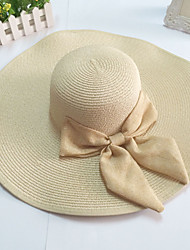 Women's Wide Brim Bow Straw Floppy Hat
