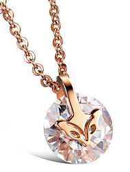 OPK®Zirconium Large Drilling Small Fox 18 K Rose Gold Plating of Individual Character Vogue Sun Necklace