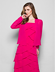 Women's Wrap Coats/Jackets Long Sleeve Chiffon Fuchsia Wedding / Party/Evening Wide collar 39cm Draped Open Front