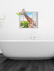 3D Wall Stickers Wall Decals, Giraffe Bathroom Decor Mural PVC Wall Stickers
