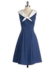 Women's V Neck Polka Dots Print Navy Style Dress