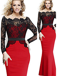 Para Women's Bodycon/Lace Asymmetrical Long Sleeve Dresses (Cotton Blend/Lace)