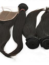"""4pcs lote 10 """"-28"""" peruano extensões de cabelo humano natural preto com cabelo virgem remy excelente grau de encerramento 6a on-line"""