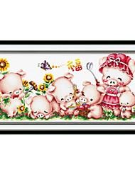 Meian cochon rose point de croix 80 x 43 x 1 cm