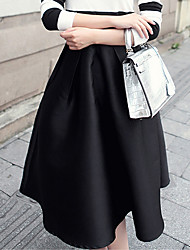 Women's Blue/Pink/Black Skirts , Casual Knee-length