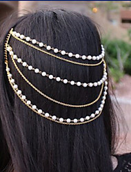 Multilayer Pearl Tassel Wedding Head Chain Jewelry Headpiece Hair Band Hair Chains Comb
