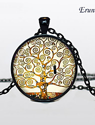 Euner® Tree of Life Necklace , Tree of Life Pendant Winter Scene , Black