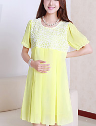 Maternity Casual Lace Stitching Chiffon Short Sleeve Dress