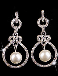 Elegant Vintage Silver Crystal and White Pearls Wedding Earring for Wedding Party