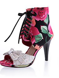 Damen-Stiefel-Kleid Lässig Party & Festivität-Vlies-Stöckelabsatz-Komfort Gladiator Knöchelriemen Club-Schuhe-Blau Rot