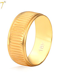 U7® Unisex 18K Real Gold Plated New Trendy Jewelry Simple Style Wedding Band Ring