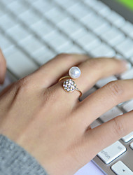 Fashion Women Pearl With Crystal Dome Adjustable Ring