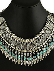 Women's European Bohemia Hand-Made Tassel Droplets Geometry Hollow Out Alloy Necklace