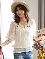 ICED™ Women's Lace Bow Puff Sleeve Loose Shirt
