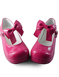 Handmade Red 2cm Flat Sweet Lolita Shoes with Bow
