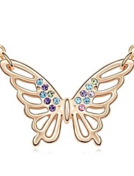 Song of Butterfly Short Necklace Plated with 18K Champagne Gold Mixed Color Crystallized Austrian Crystal Stones