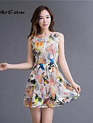 Milaieshow Women's Print Elegant Sleeveless Above Knee Dress