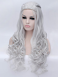 The New Cartoon Color Wig Silver  Curly Hair Wigs