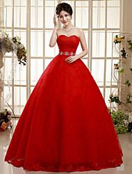 Vestido de Boda - Rojo (el Color y Estilo pueden variar según su monitor) Corte en A Hasta el Suelo - Sweetheart Encaje