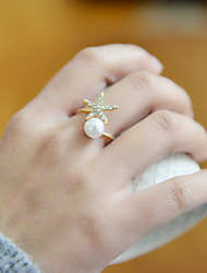 Fashion Women Pearl With Crystal Star Adjustable Ring