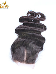 "10""-20"" Indian Virgin Hair Body Wave Lace top Closure Color Natural Black Baby Hair for Black Women"