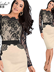 women's horizontal collar Long sleeve lace sllim pencil skirt (Polyester)