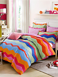 Cotton Fabric Striped Duvet Cover Sets Queen Size Geometric Bedding Sets