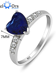 Genuine 925 Sterling Silver Hot Sale Heart Ring Fashion Jewelry Classic 925 Sapphire Love Rings