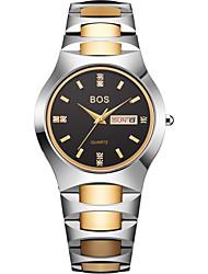 BOS Men's Luxury Dress Watch Black Dial Gold Tone Quartz Watch