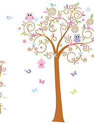 Wall Stickers Wall Decals, Owl Flower Tree PVC Wall Stickers