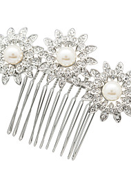 Neoglory Jewelry Imitation Pearl and Clear Rhinestone Sunflower Hair Comb Hairpins for Wedding Bridal