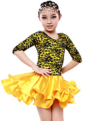 High-quality Milk Fiber with Ruffles Latin Dance Dresses for Children's Performance/Training(More Colors) Kids Dance Costumes
