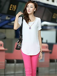 Women's Sale Price Summer Short Sleeve Pullover Blouses with Necklace Casual Blouse Shirts
