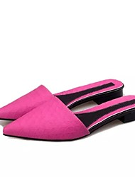 Women's Shoes Leatherette Flat Heel Comfort/Pointed Toe Sandals/Slippers Dress/Casual Black/Red/White