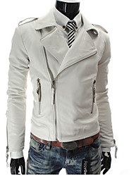 YS Men's V-Neck Coats & Jackets , PU Long Sleeve Casual Pocket Winter