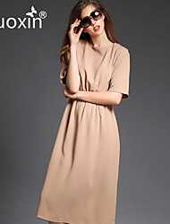 nuoxin® Women's Round Collar Collect Waist Office Lady Temperament Dress