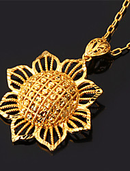 TopGold Vintage Hollow Sun Flower Charm Pendant Necklace 18K Gold Plated Jewelry Gift Unisex High Quality