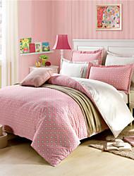 Pink Stars Duvet Cover Set Queen Bedclothes 100% Cotton
