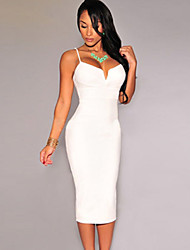 Women's Black/White/Red Sexy Pluging Bodycon Midi Dress