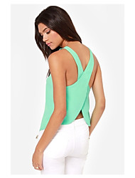 Beibei Women'S Europe And Candy-Colored Chiffon Blouse Shirt Sexy Cross Halter Camisole Tops