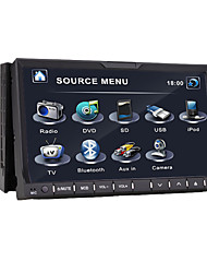 7 polegadas 2 din tela TFT DVD player do carro in-dash com entrada ipod / iphone-usb, bluetooth, rds, tv