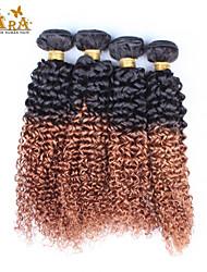 3st / lot 10 '' - 26 '' ombre hår boundles eurasiska jungfru hårförlängningar kinky lockigt färg 1b / 30 människohår väver