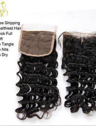 """20/08 """"malaio onda profunda encerramento lace cacheados tamanho 4x4 preto natural livre / parte do meio virgem do laço do cabelo humano"""