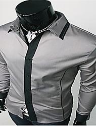 Винтаж/Повседневный/Для вечеринок/Деловая - MEN - Повседневные рубашки ( Хлопок/Вискоза Длинный рукав