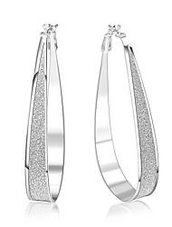 lureme® Fashion Style Silver Plated Oval Shape Shiny Hoop Earrings